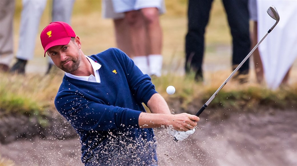Webb Simpson blasts his Pro V1 golf ball out of a Royal Melbourne bunker during action at the 2019 Presidents Cup.