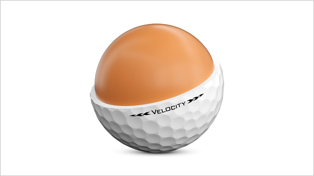 Rendered Image of reformulated, larger and faster core in new 2020 Titleist Velocity golf ball