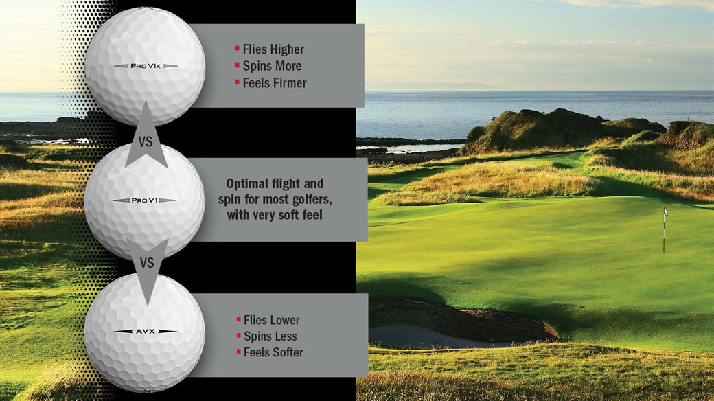Graphic comparing performance differences between new 2019 Pro V1, new 2019 Pro V1x and AVX golf balls from Titleist