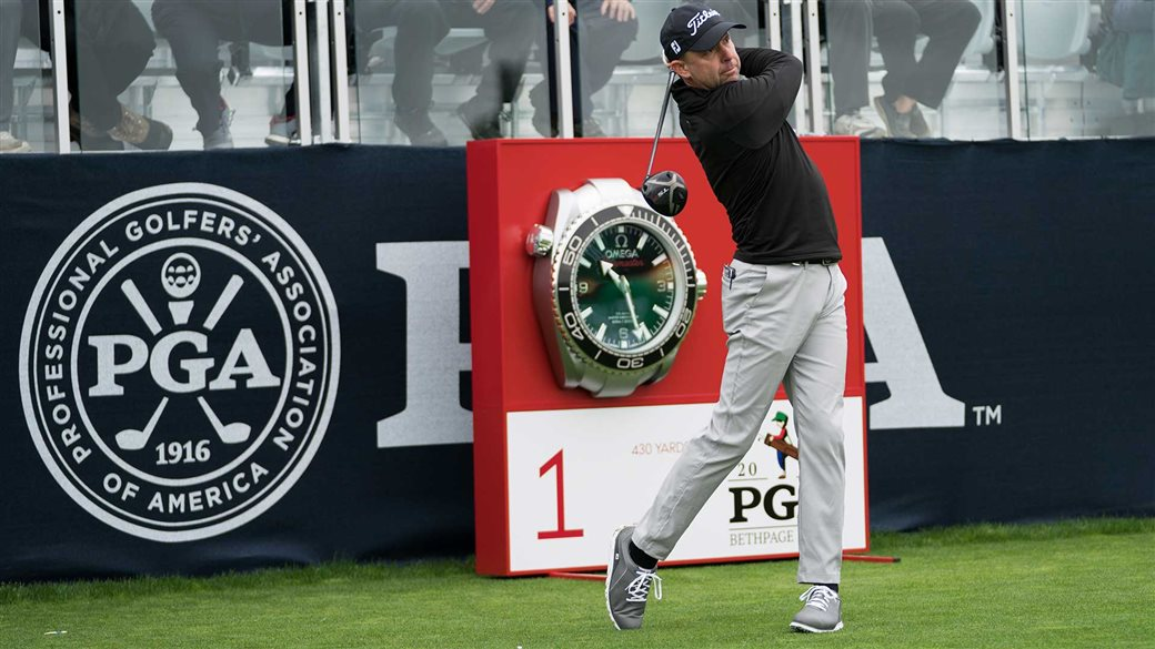 Titleist staff member Rob LaBritz tees off on the first hole during practice round action at the 2019 PGA CHampionship at Bethpage Black