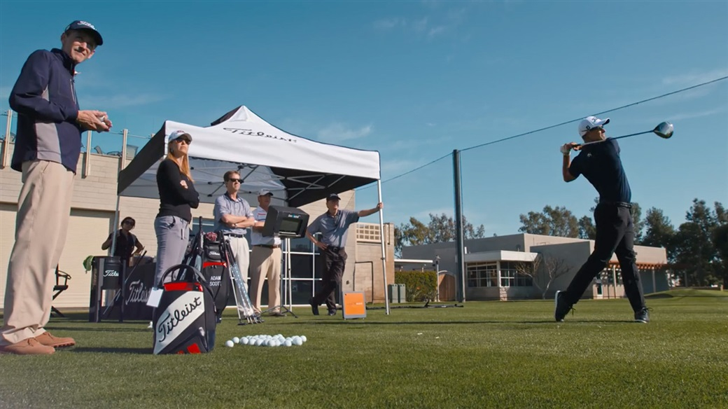 Titleist Tour Consultant for Titleist Golf Ball R&D, Fordie Pitts, observes ball flight during testing with Adam Scott at Titleist's Oceanside Test Facility.