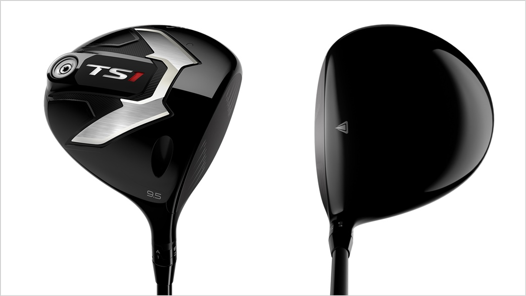 Side by side photo showing the sole and address view of the new Titleist TS1 driver