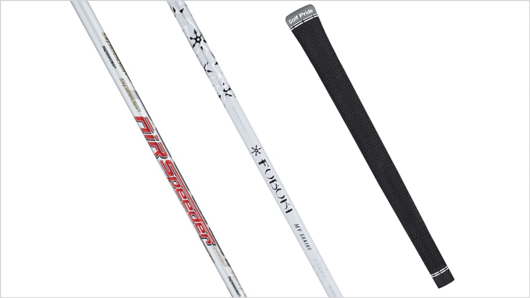 Photo showing the stock shaft and grip options available with the new Titleist TS1 driver