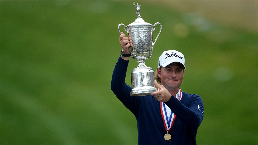 Webb Simpson raises the U.S. Open trophy after capturing his first major title in 2012, at Olympic Club.