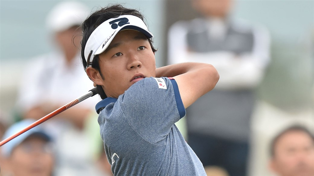 Yosuke Asaji tees off during action at the 2019 Asia-Pacific Diamond Cup