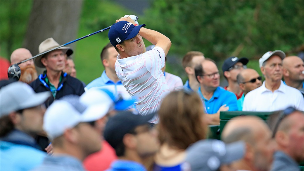 Justin Thomas watches his tee shot during the 2019 Memorial Tournament at Muirfield Village Golf Club