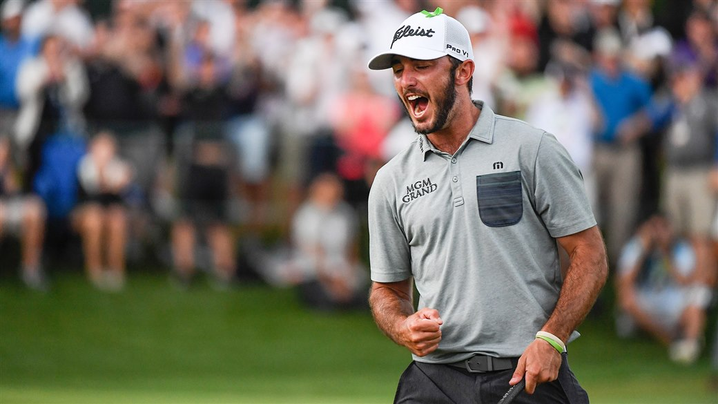 Max Homa celebrates after winning the 2019 Wells Fargo Championship