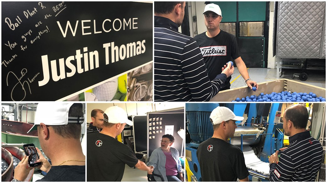 Justin Thomas during a tour of Titleist's Ball Plant 3 Facility in May 2019