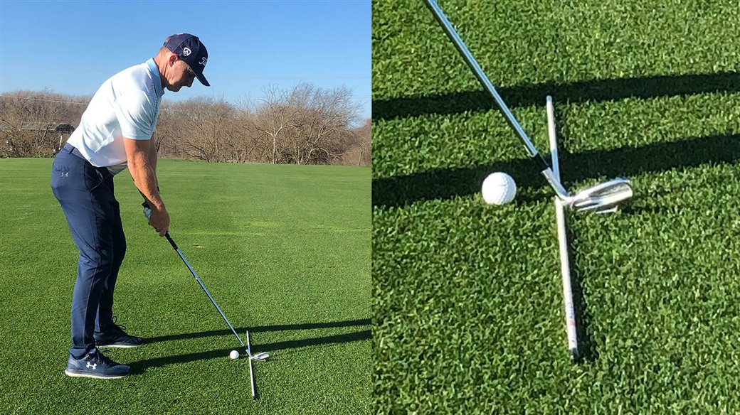Titleist staff instructor demonstrates how to set up his Jump The Fence Drill for golfers who struggle with heel-biased face contact.