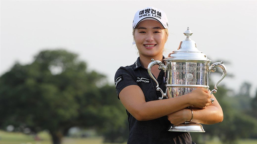 Jeongeun Lee6 embraces the Harton S. Semple trophy after winning the 74th U.S. Women's Open Championship