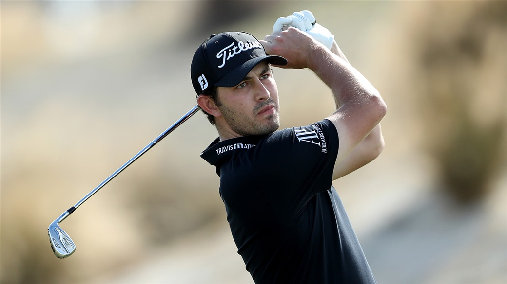 Patrick Cantlay plays an approach shot with his Titleist 718 AP2 9-iron at the 2019 BMW Championship