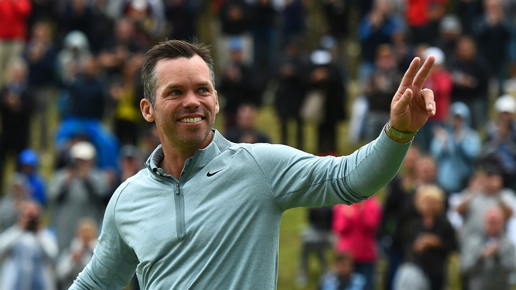 Paul Casey salutes the gallery after winning the 2019 Porsche European Open