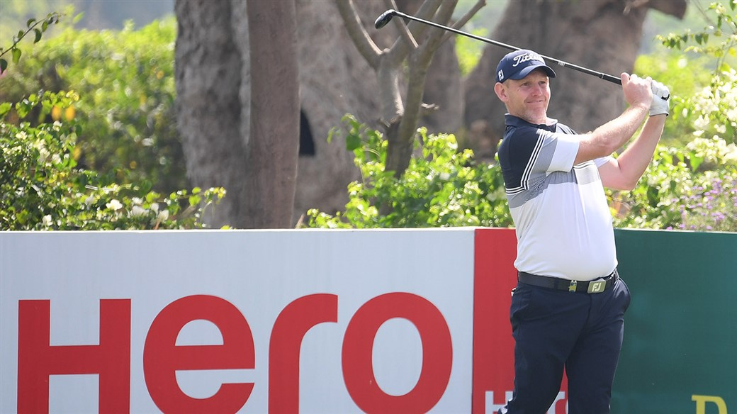 Titleist player Stephen Gallacher hits a tee shot at the 2019 Hero Indian Open