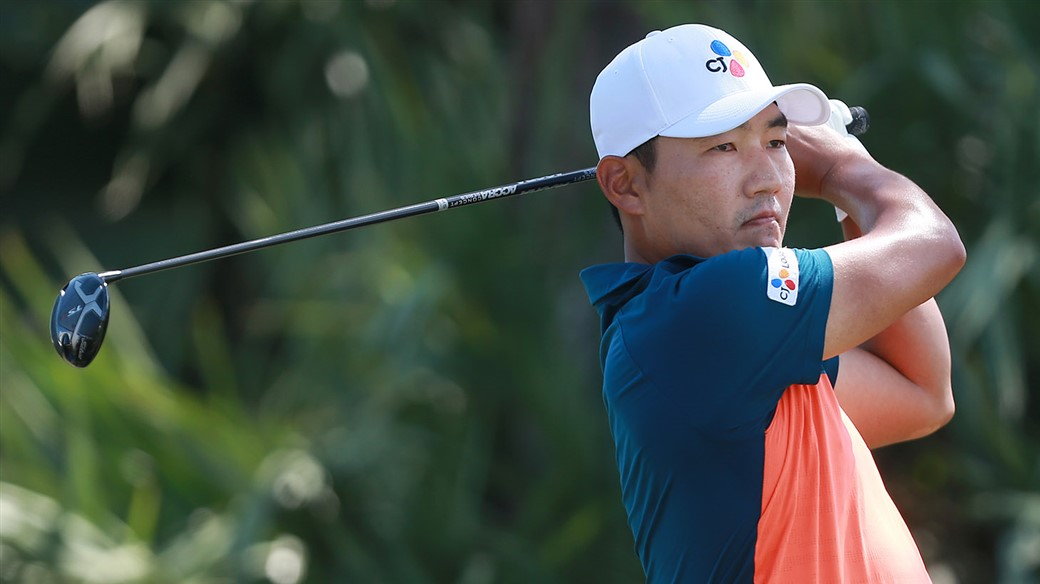 Sung Kang hits a tee shot with his Titleist TS3 driver during action at the 2019 AT&T Byron Nelson