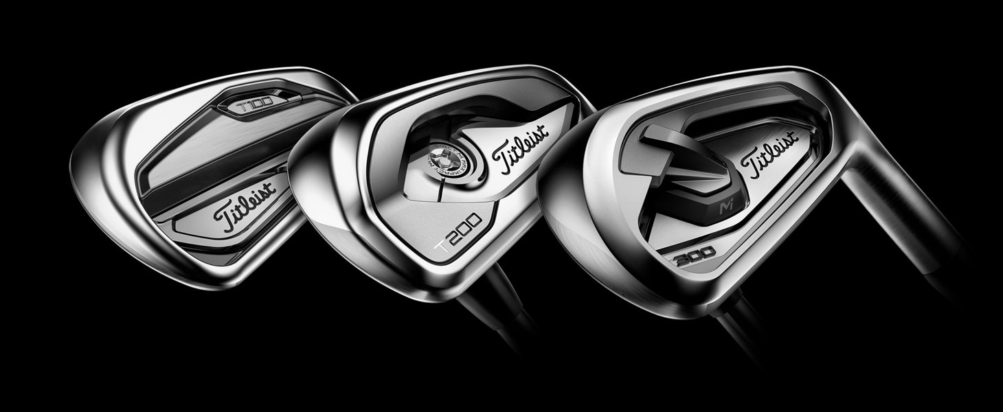 Image of new Titleist T100, T200 and T300 irons, which debuted last week on the PGA Tour.