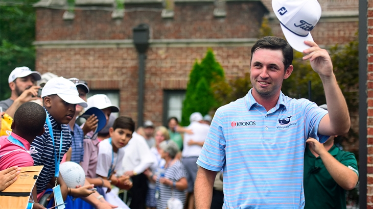 J.T. Poston tipping his Titleist cap at the Wyndham Championship.