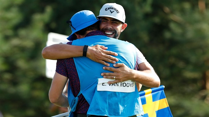 Erik van Rooyen celebrates with his caddie after holing the winning putt with his Pro V1 golf ball at the 2019 Scandinavian Invitation